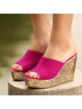 Sequins High Platform Womens Wedges