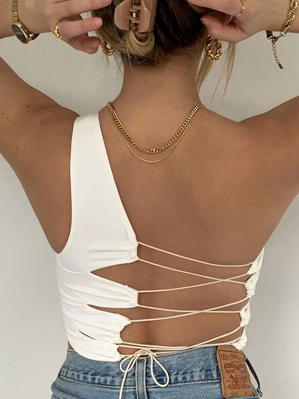 Chic Design Lace Up One Shoulder Tank Top