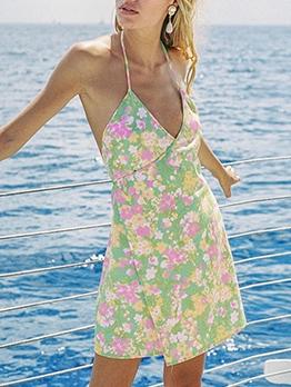 Backless Flower Printed v Neck Halter Dress