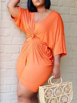 Plus Size Loose Pure Color Two Piece Shorts Set