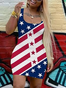 American Flat Printed Sleeveless Summer Dresses