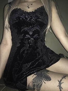 Gothic Style Back Lace-Up Black Velvet Slip Dress