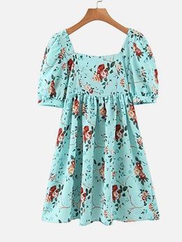 Vintage Rose Printed Square Neck Short Sleeve Dress