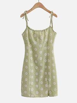 Daisy Printed Slip Camisole Sleeveless Dress
