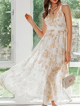 Deep v Printed Backless Beach Maxi Dress