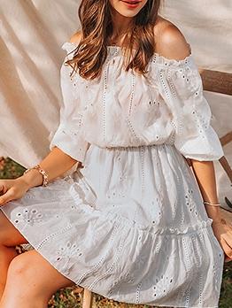 Loose Solid Off Shoulder Summer Dresses