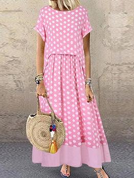 Crew Neck Polka Dots Maxi Dress With Sleeves