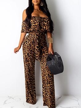 Leopard Off Shoulder Jumpsuits For Women