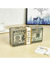 Money Clutch Rhinestone Decor Dollar Square Chain Bag