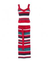 V Neck Striped Tie-Wrap Sleeveless Two Piece Skirt Set