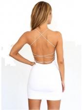 Sexy Cross Belt Backless Sleeveless Mini Dress