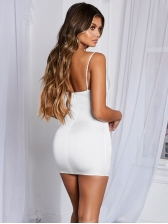 Sexy Breasted Padded Cut Out Sleeveless Mini Dress
