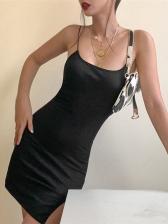 Solid Spaghetti Strap Split Bodycon Dress