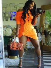 Inclined Shoulder Solid Color Summer Dresses