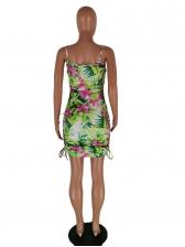 Flower Printed Double Drawstring Summer Slip Dress
