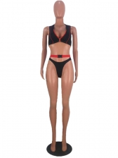 Front Zipper Stripes Stitching Two Piece Bikini Set