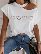 Creative Print Cold Shoulder Short Sleeve Tee Shirts