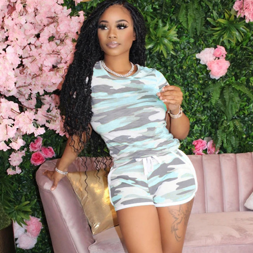 Leisure Style Camouflage Short Sleeve Two Piece Short Sets