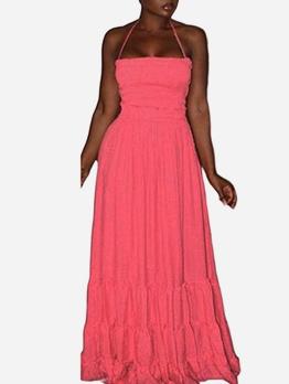 Cross Belt Backless Pink Halter Maxi Dress