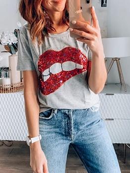 Sequined Lips Summer Short Sleeve Tee Shirts