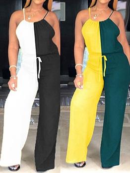 Contrast Color Spaghetti Strap Wide Leg Jumpsuit