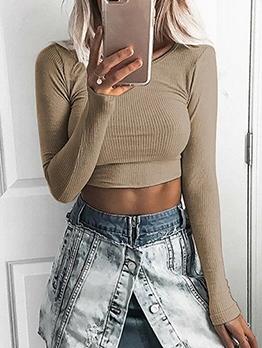 Fashion Elastic Long Sleeve Crop T-Shirt For Women