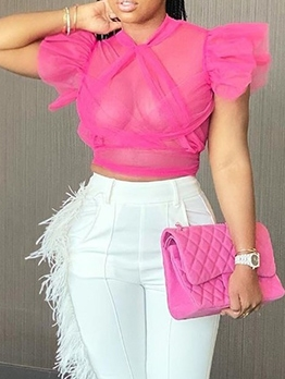 Solid Ruffled Gauze Short Sheer Blouse