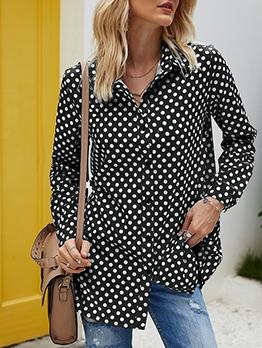 Plus Size Single-Breasted Polka Dot Long Sleeve Shirt