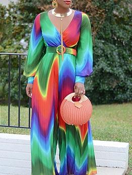 Colorful Long Sleeve Chiffon Wide Leg Jumpsuit