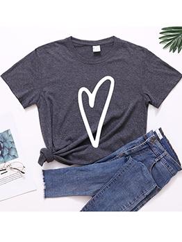 Heart Print Loose Short Sleeve Cotton T-Shirt