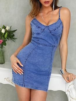 Trendy Spaghetti Strap Summer Denim Dress