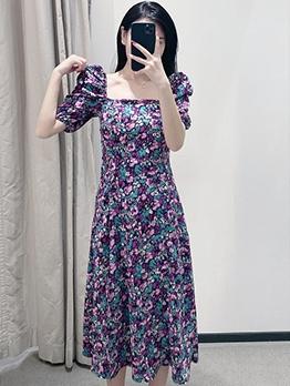 Vintages Style Square Neck Floral Midi Dress