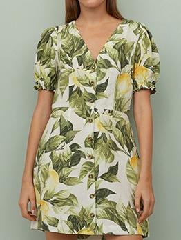 Vintage Puff Sleeve Leaves Print Short Dress