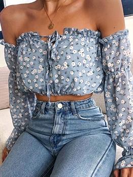 Off Shoulder Long Sleeve Floral Blouse