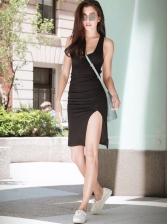 Deep U Neck Split Hem Fitted Black Tank Dress