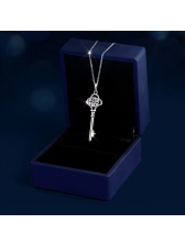 Key Necklace 1 Ct Diamonds Sterling Silver