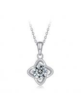 Lucky Clover Necklace Silver 1 Ct