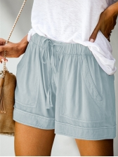 Solid Drawstring Wide Leg Short Pants