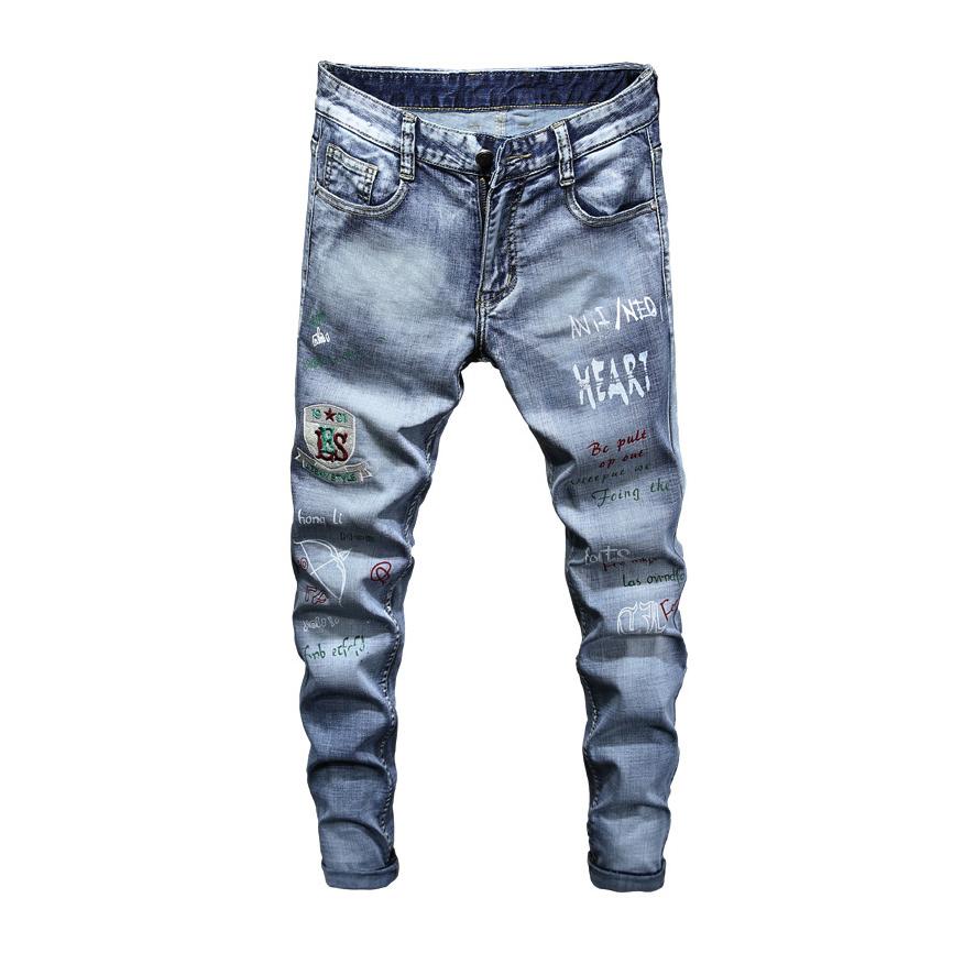 Stylish Letter Print Mens Straight Leg Jeans