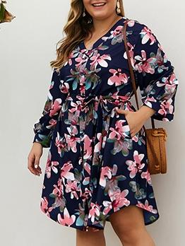 V Neck Printed Plus Size Long Sleeve Dress