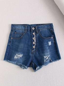 Dark Blue Button Fly High Waist Denim Shorts