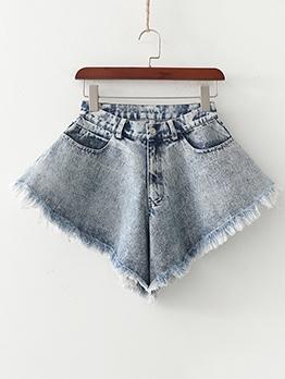 Rough Edges Loose High Waist Denim Shorts