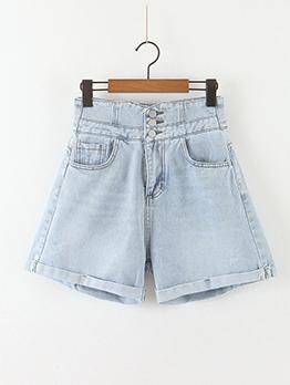 Three Button High Waist Rolled Edges Denim Shorts