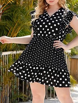 Stylish Polka Dots Plus Size Ladies Dress