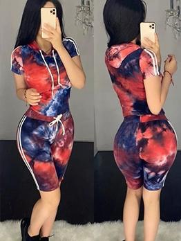 Tie Dye Short Sleeve Hooded Womens Tracksuits