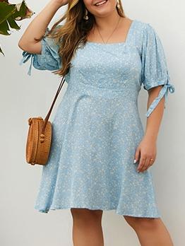 Summer Square Neck Printed Plus Size Dresses