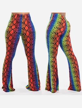 Animal Printed Striped Women Flare Pants