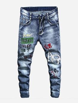 Trendy Printed Mid Waist Mens Jeans