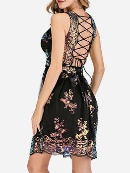 Back Crisscross Gauze Sequins Patchwork Sleeveless Dress