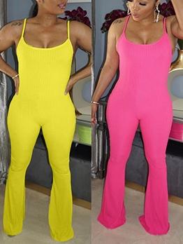 Bright Color Spaghetti Strap Summer Casual Jumpsuits